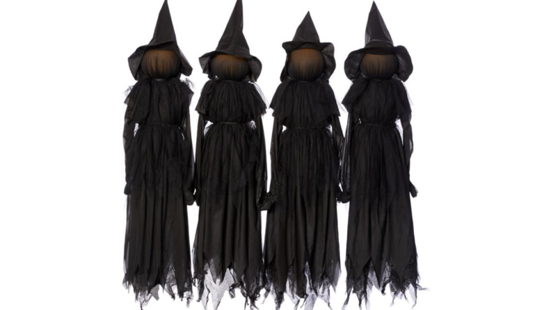 witch yard stakes on white background