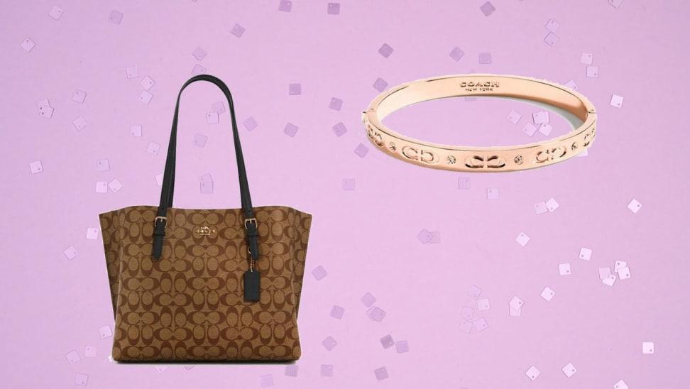 A Coach bag and bracelet against a pink backdrop.