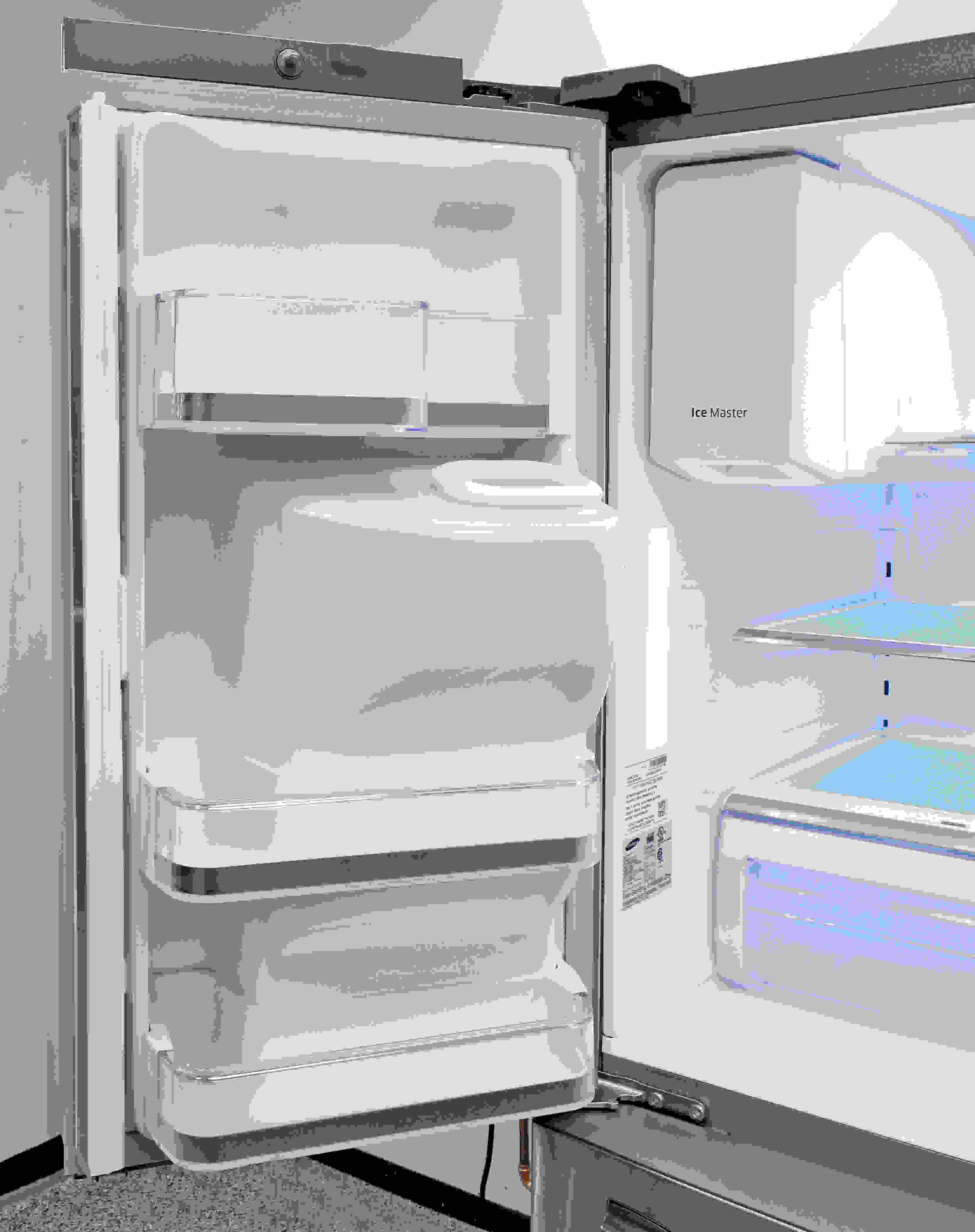 The Samsung RF28HMEDBSR's left fridge door doesn't have a lot of space, since it needs to accommodate the bulky ice chute.