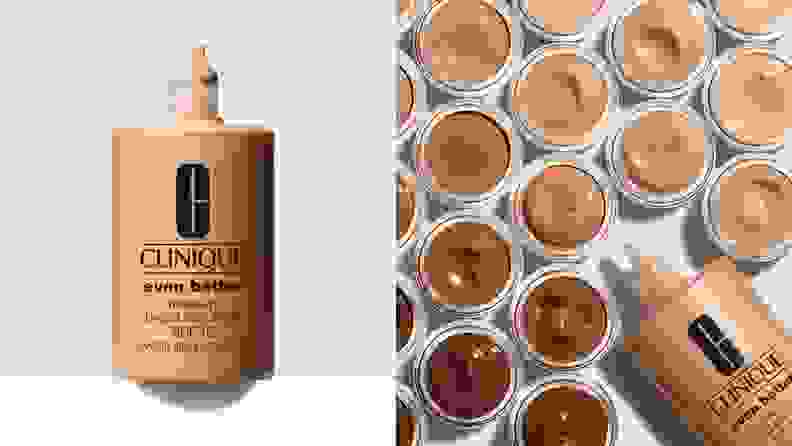 On left, cream colored foundation from Clinique. On right, different shades of Clinique foundation from light to dark next to bottle.