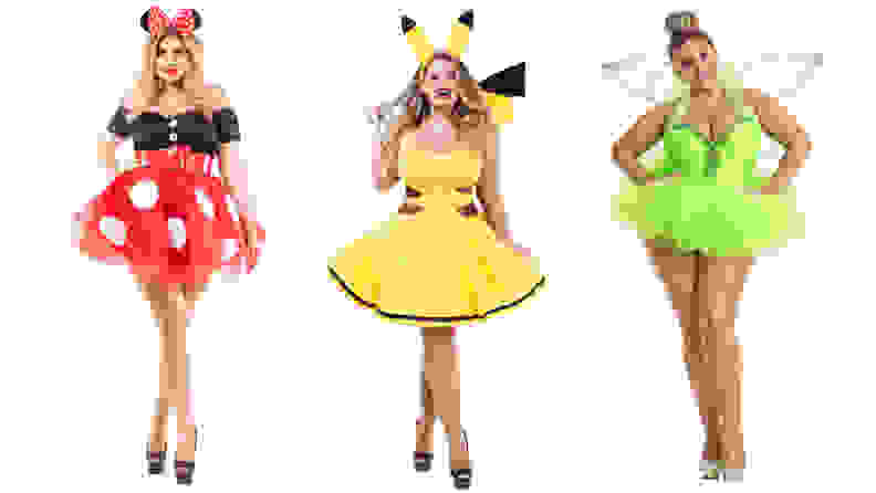 Three women standing next to each other wearing sexy costumes of minnie mouse, pikachu, and tinker bell