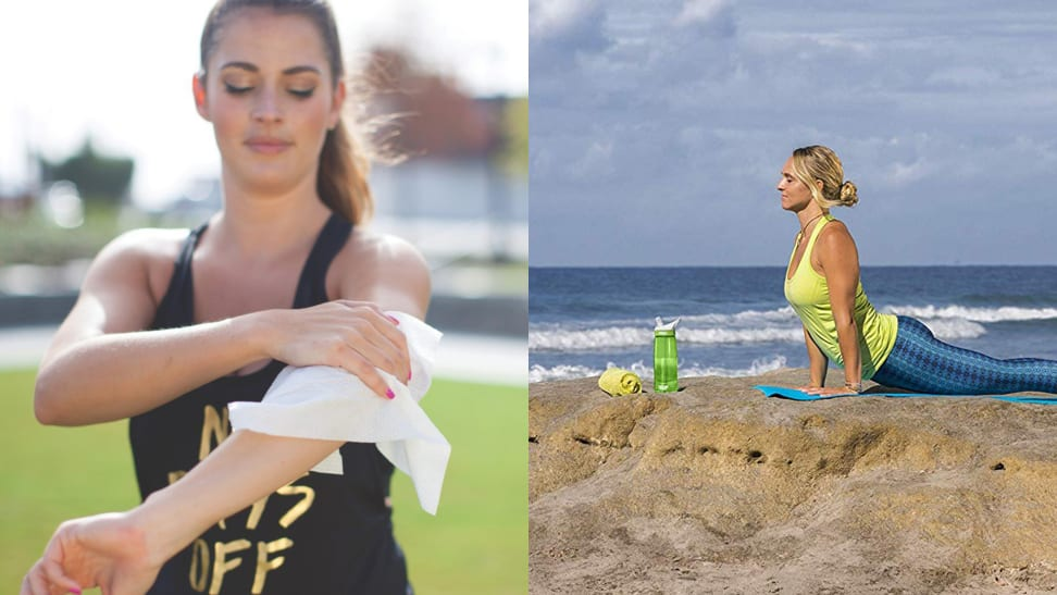 A picture of good wipes cleaning wipes and a woman practicing yoga