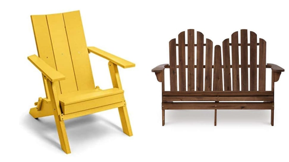 a modern, yellow Adirondack chair sits next to a pretty wood double Adirondack chair