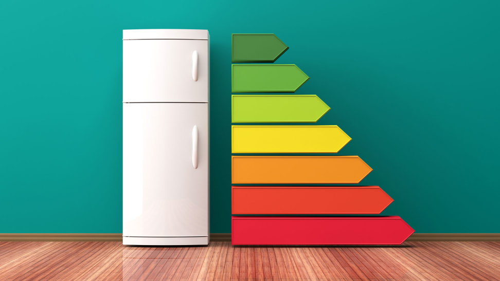 A top-freezer fridge stands next to a series of stacked lines along its right side. The lines have arrow-shaped ends pointing to the right, and are stacked with the greenest and smallest arrow on top, and the longest, reddest arrow at the bottom.