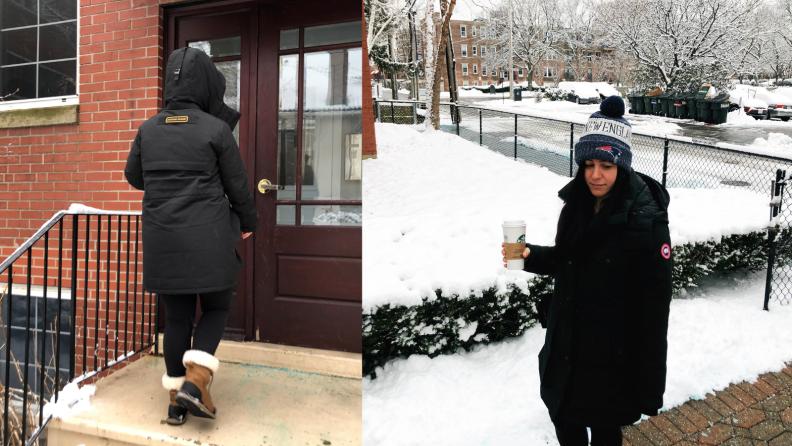 Walking in the Canada Goose coat