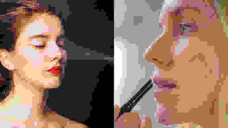 On the left: A person spraying their makeup. On the right: A person applying lip balm.