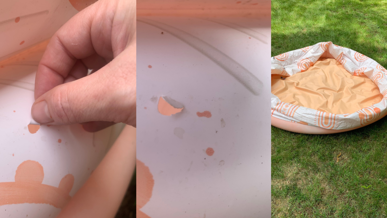 On left, fingers pulling on small tear in pink and white Minnidip inflatable pool. In middle, small holes in Minnidip pool. On right, empty deflated pool on lawn.