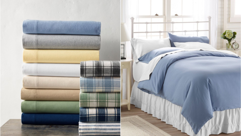 On left multi-colored stack of folded sheets. On right, bed made up white and blue bedding.