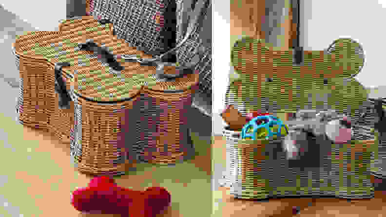 Two images of a dog bone shaped wicker toy basket, one with the lid open and one with it closed.