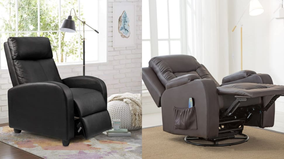 On left, black leather recliner chair in living room. On right, brown leather chair extended into horizontal position.