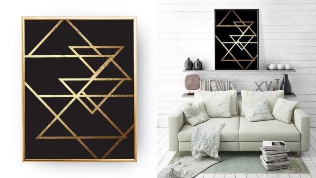 Lovely Decor Geometric Gold Print