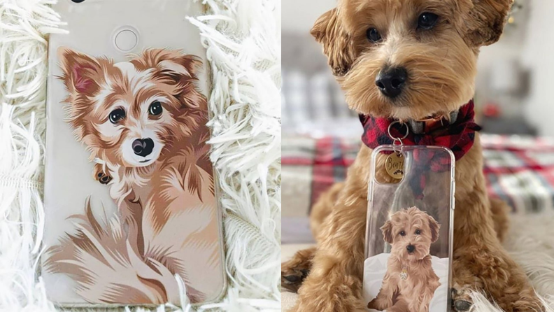 Two images of dog portrait phone cases, one with the dog next to the case for comparison.