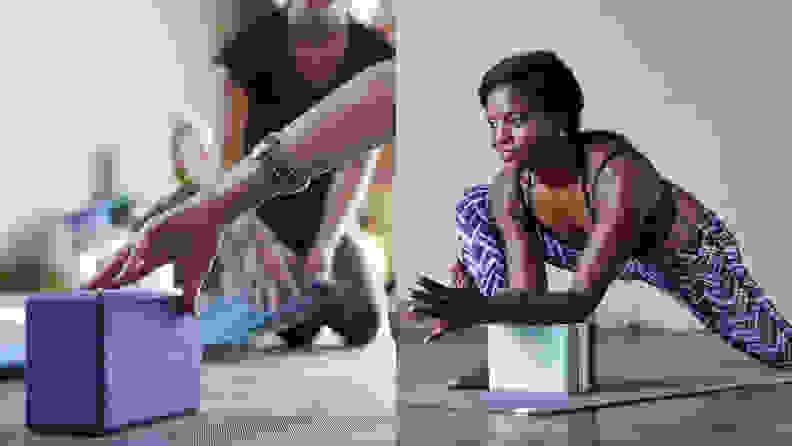 Left: Purple gaiam yoga block on yoga mat. Right: woman using teal stripe gaiam essentials yoga block for practice.