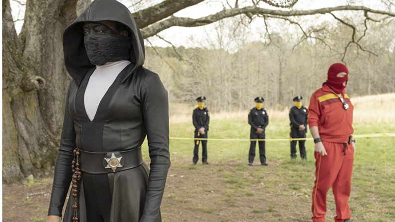 A still from the series Watchmen featuring Regina King.