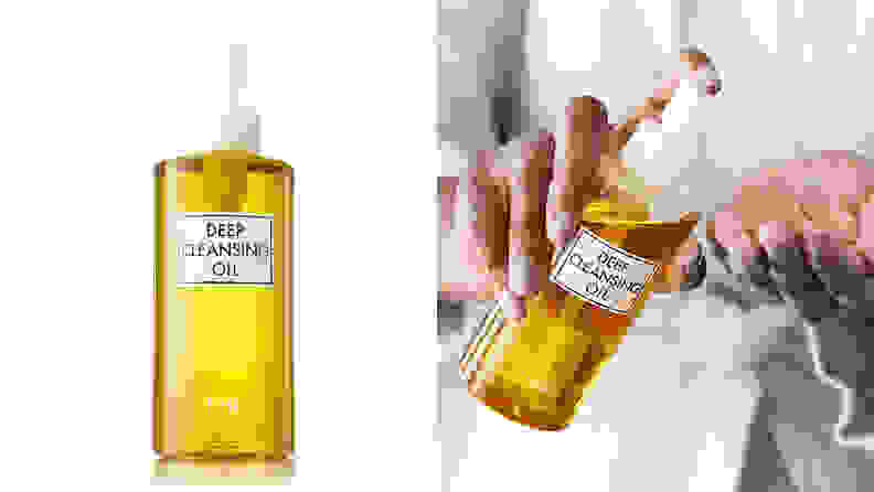 On the left: The DHC Deep Cleansing Oil in its clear bottle that reveals the yellow oil stands on a white background. On the right: A person pumps the DHC Deep Cleansing Oil onto their hand.