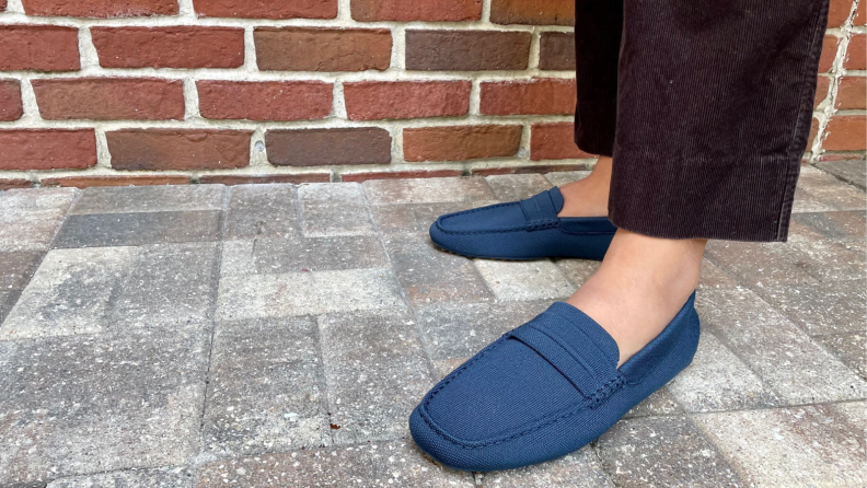 man wearing Rothy's loafers