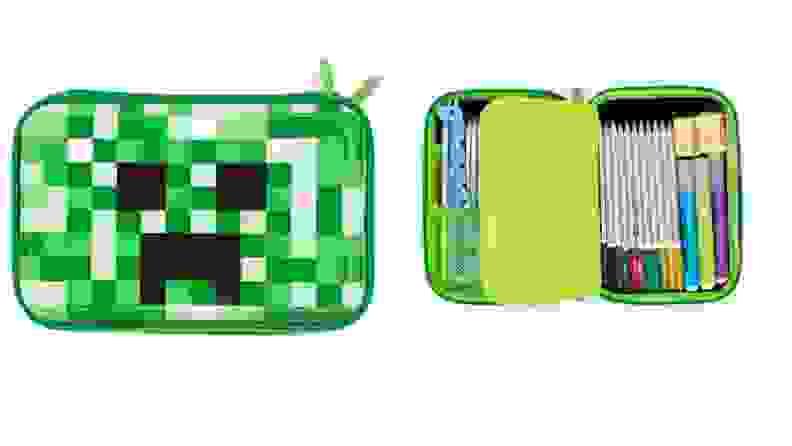 Green Minecraft themed pencil case.