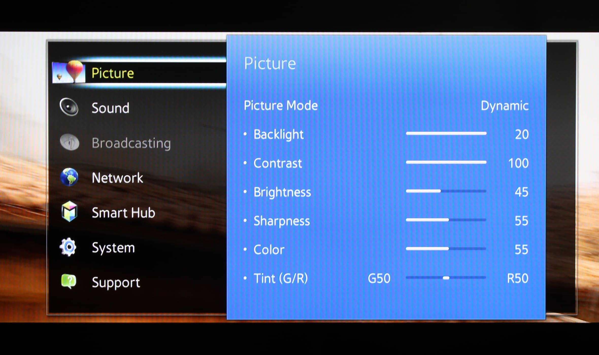 Samsung's picture menu is accessible and easy to use.
