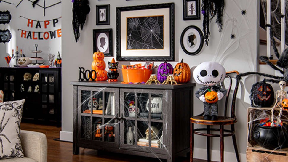 Halloween decor from Walmart in a living room