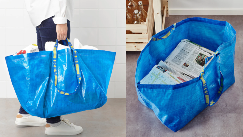 On left, man standing up holding blue Ikea bag. On right, blue Ikea bag filled with newspapers.
