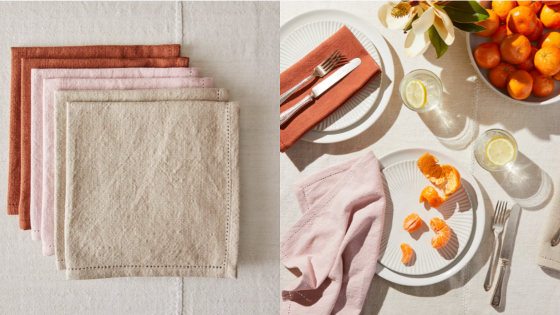 On left, 6 sets of cotton multi-colored cotton napkins. On right, pink cotton napkin included in dinner table set up with oranges.On left,