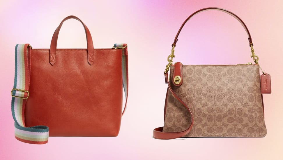 Madewell Transport Tote and Coach Turnlock Clasp Satchel purse in front of colorful pink background.