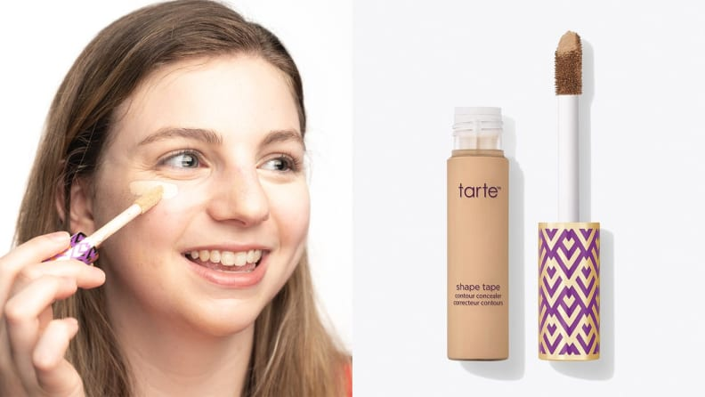 On the left: A person applying Tarte concealer under their eye. On the right: A tube of Tarte Shape Tape Concealer open with its wand to the right of the tube.