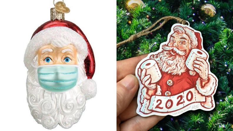 COVID Santa Christmas ornaments