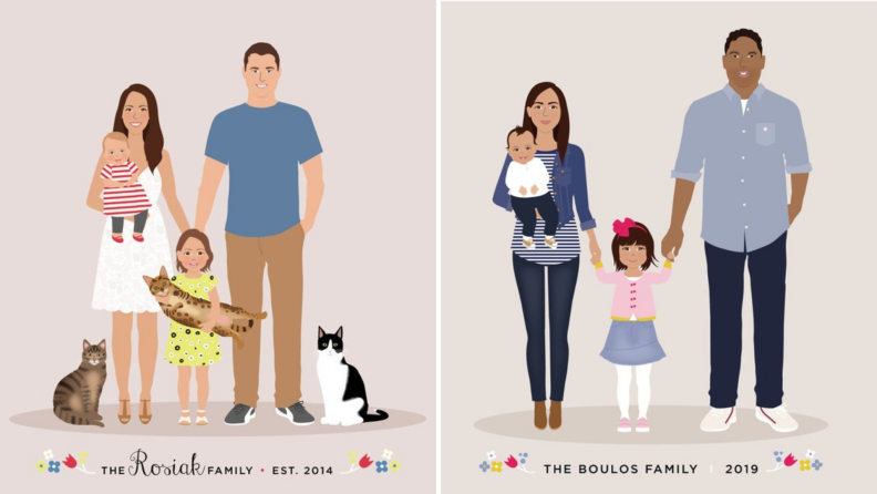 Two customized cartoon family portraits.