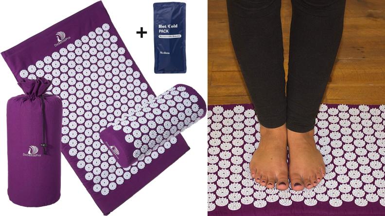 An acupressure mat and pillow