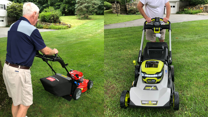 Two side-by-side images of a man pushing lawn mowers across a yard.
