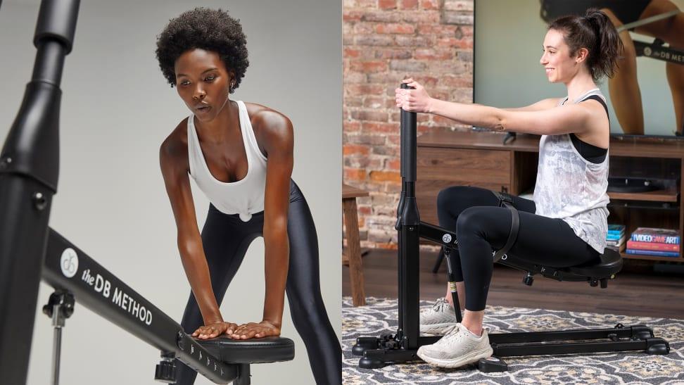 Woman using DB Method squat machine.