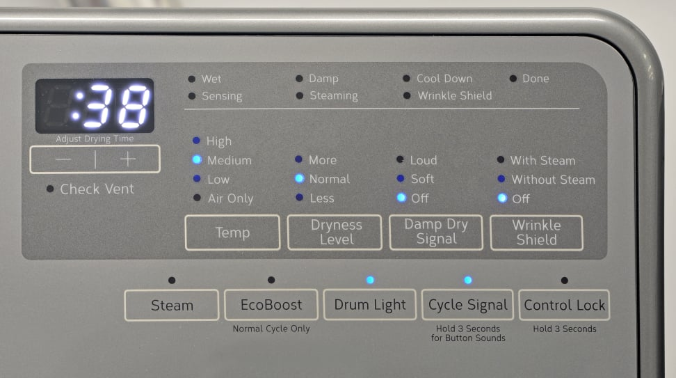 Whirlpool WED90HEFC Controls