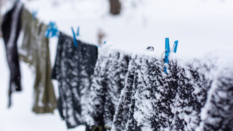 clothesline in snow