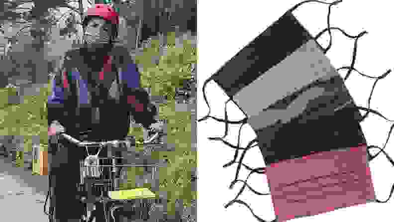 1) a person rides a bike with a helmet and mask. 2) A stack of multicolored masks.
