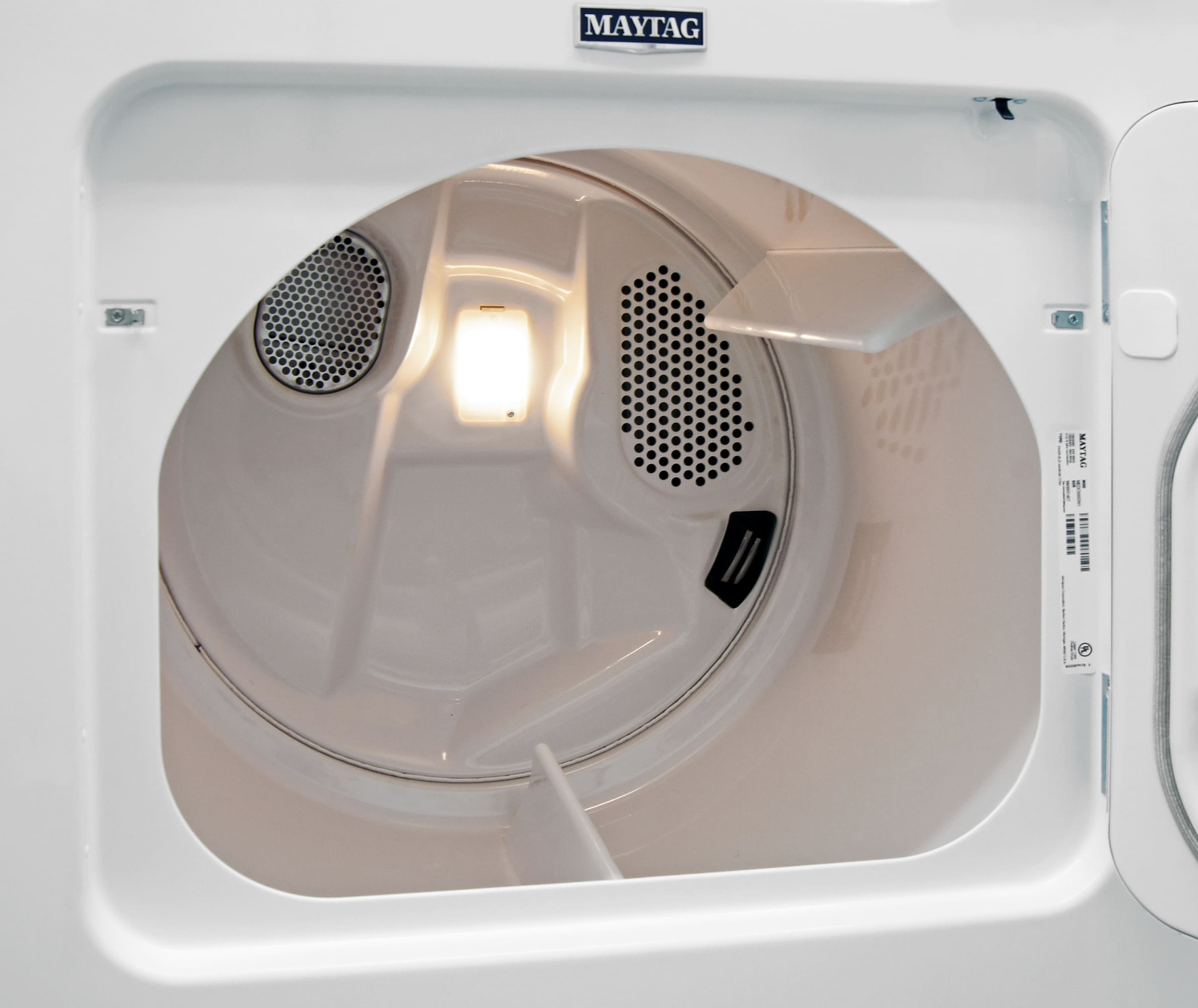 The Maytag Centennial MEDC555DW's white interior drum is quite spacious for a budget model.