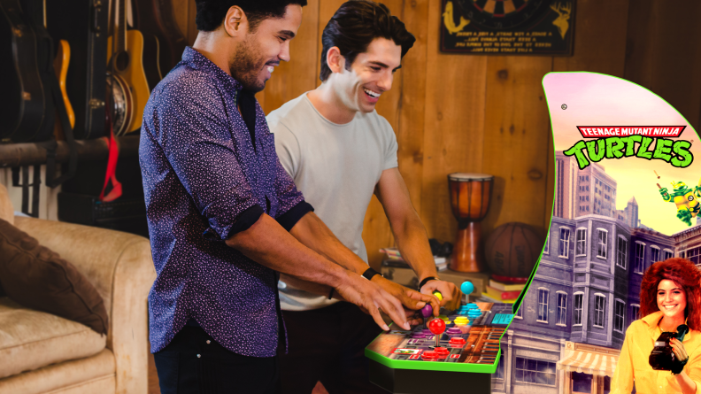 Bring your favorite arcade game home with a teenage Mutant Ninja Turtles console.