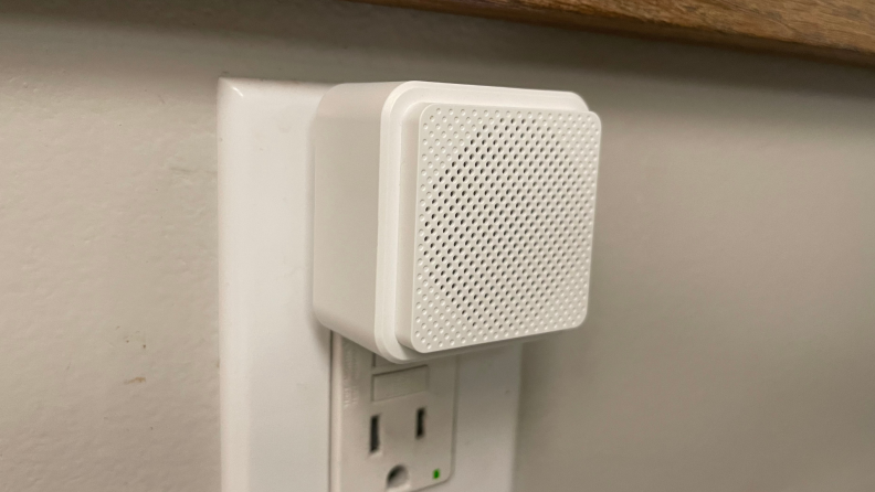 The Wyze Chime is plugged into an outlet