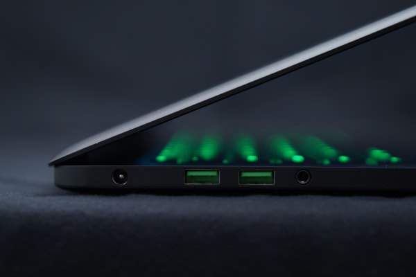 The Razer Blade keeps the ports to a minimum, but you benefit from three uSB 3.0 ports—two of which are on the left side.
