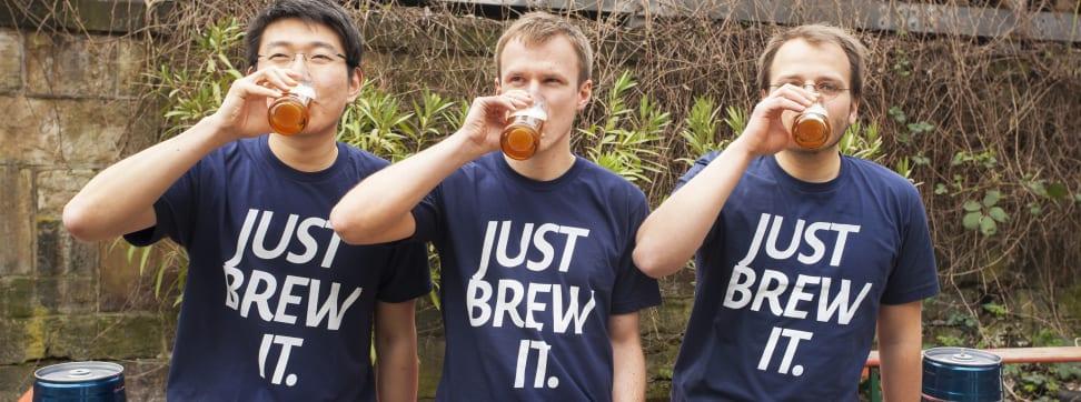 The three BrewBarrel co-founders drink beer