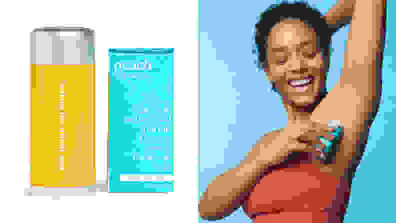 On the left: A yellow refillable deodorant container, On the right: A person raising their arm and applying deodorant to their armpit.