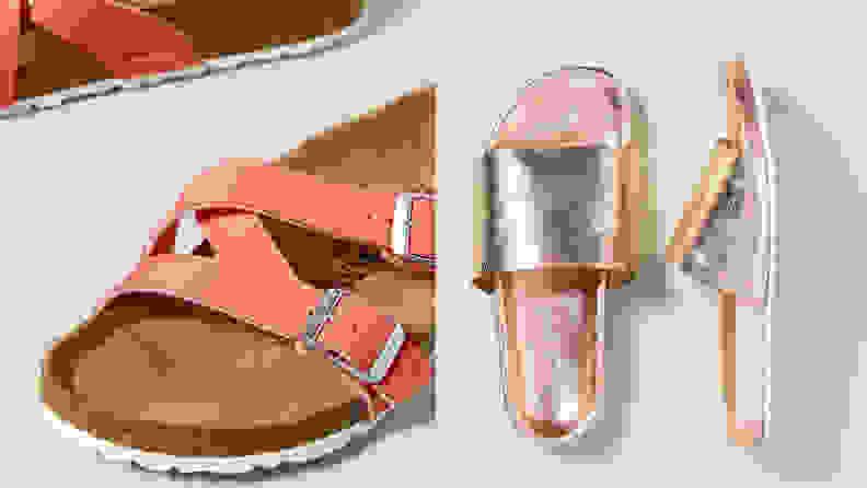 Pink Birkenstocks and shiny slides.