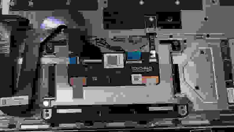 A picture of the underside of the touchpad