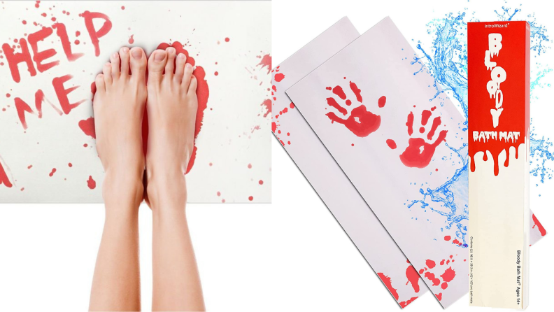 On left, feet standing on bloody bath mat. On right, packaging for bloody bath mat.