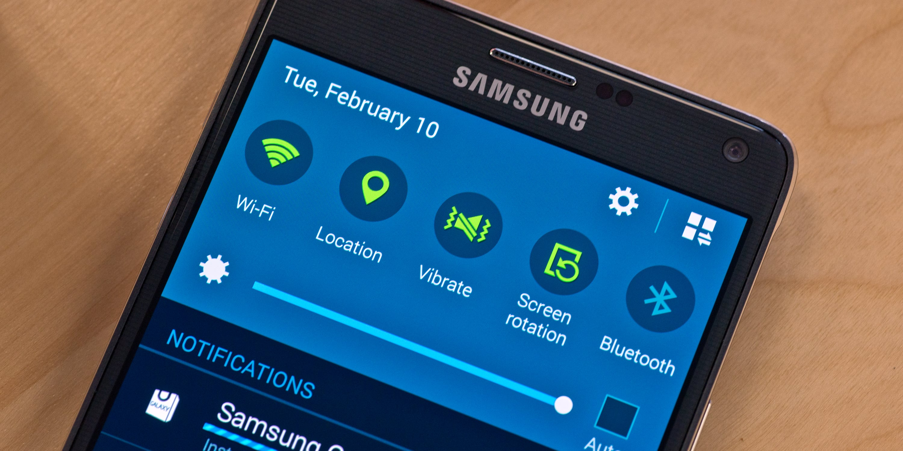 A photograph of the Samsung Galaxy Note 4's power menu.
