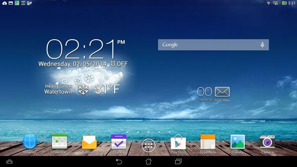 The Android home screen