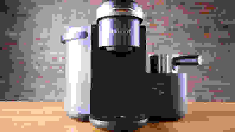 A black Keurig K-Café single serve coffee maker.