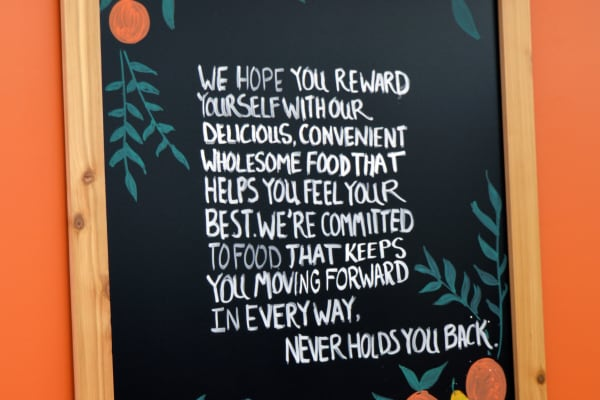 Daily Table offers an atmosphere of positive reinforcement, like this sign that encourages you for buying healthy food.