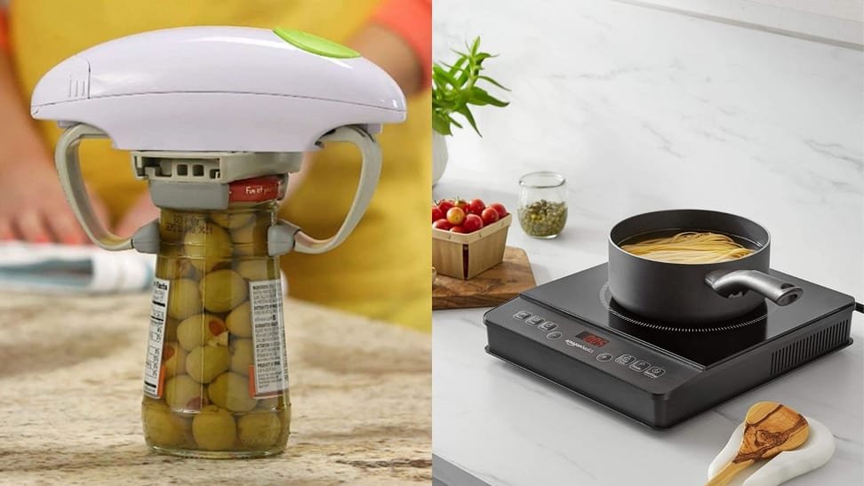 Left: An electric jar opener opening a jar of olives. Right: A hot plate on a kitchen countertop with a pot of boiling water and pasta cooking in it.