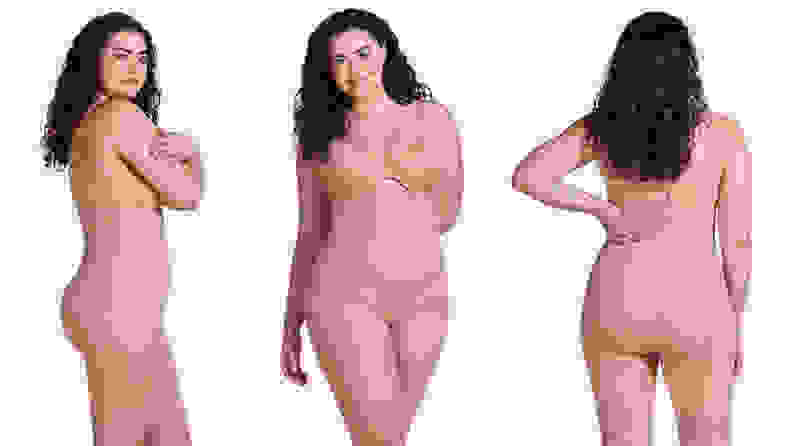 Woman posing in different positions wearing shapewear